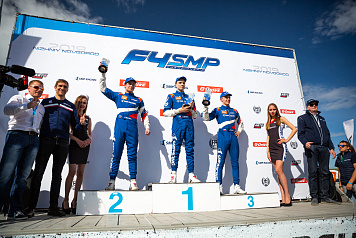 SMP Racing drivers on the podium of the SMP RCRS and SMP Formula 4 races in Nizhny Novgorod